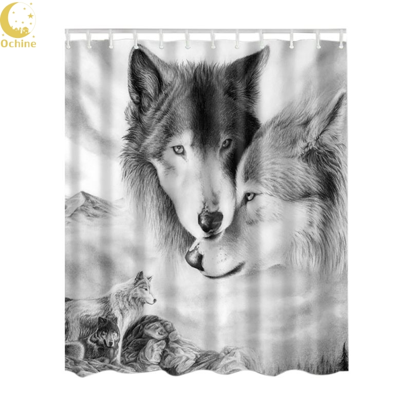 OCHINE 180 * 180cm Design Waterproof Polyester Fabric Shower Curtain Bathroom Elephant Pattern Decor