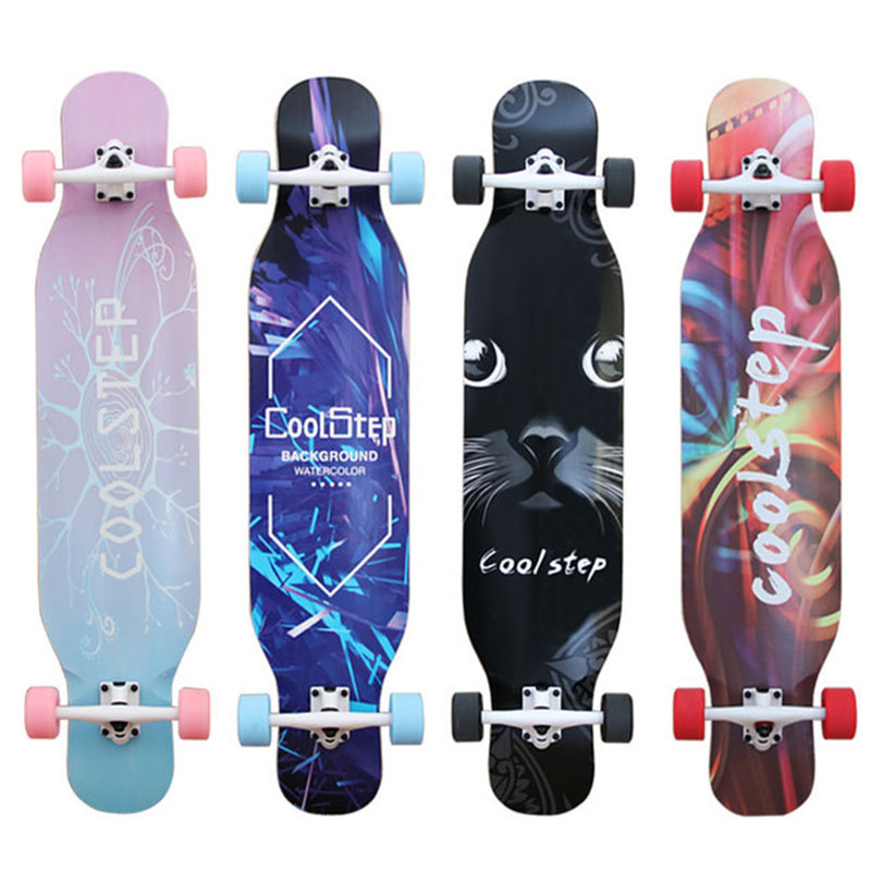 COOLSTEP complet descente/danse Longboard planche à roulettes adultes Freestyle Street Road Skate Longboard 4 roues