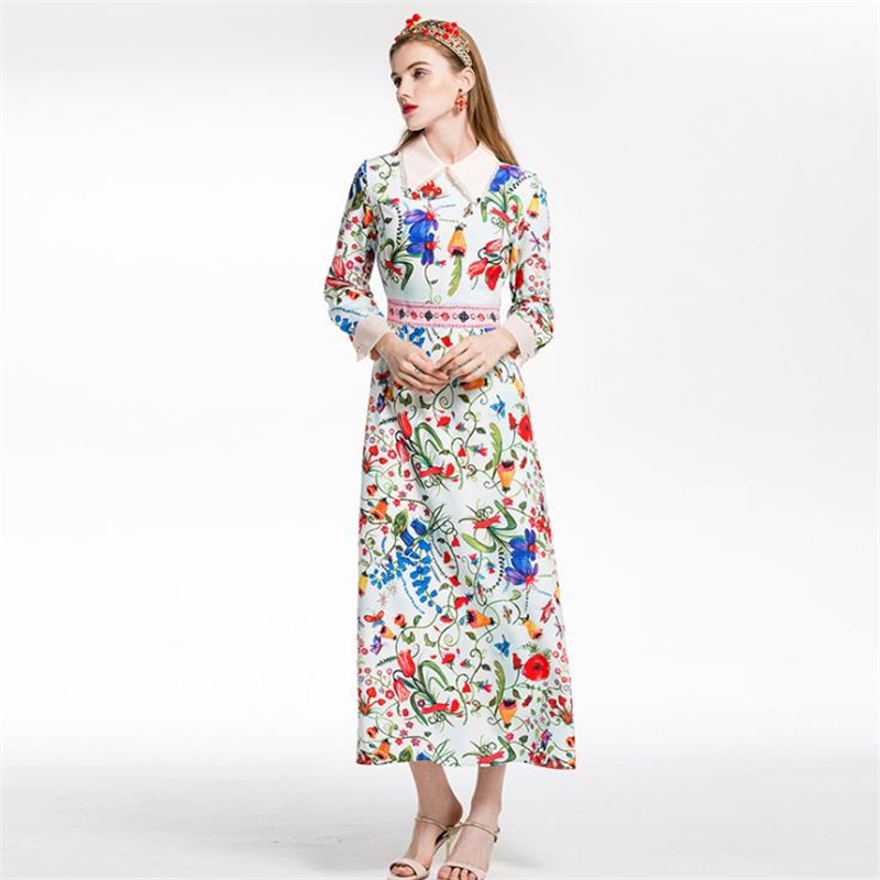 UNIQUEWHO Girls Women Boho Chic Dress Flower Butterfly Bee Printed Long Sleeve Maxi Dress Bohemia Spring Summer Dresses 2018 New