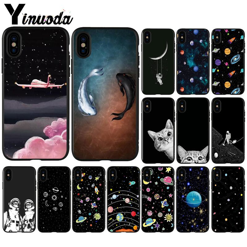 Cellphones & Telecommunications Motivated Yinuoda Pretty Space Moon Astronaut Cat Newly Arrived Black Cell Phone Case For Iphone 5 5sx 6 7 7plus 8 8plus X Xs Max Xr Durable In Use