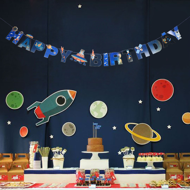 UFO Solar System Outer Space Happy Birthday Banner
