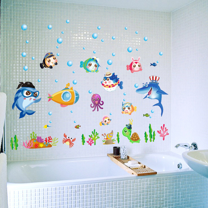 Criativa Dos Desenhos Animados Peixes Etiqueta Bonito Quartos Dos Miúdos Decoração Da Parede do Decalque Em Parede Do Banheiro À Prova D' Água salle de Bain Cartaz SD071 Enfant
