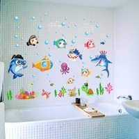 Dessin animé créatif poissons Salle de bains autocollant mignon enfants chambres mur décor Muursticker étanche Salle de Bain affiche Enfant SD071
