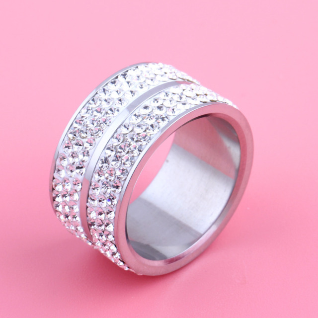 Classic Stainless Steel 6 Row Crystal Jewelry Wedding Ring