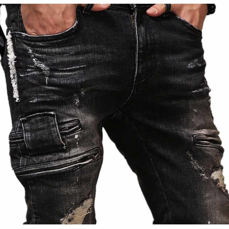 55af02912bd6 ... High Quality Zipper Mens Ripped Biker Jeans Cotton Black Slim Fit Male  Motorcycle Pants Men Vintage ...