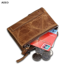 AOEO unisex genuine leather wallet for women men double zipper design purse female good quality Small bag slim male wallets