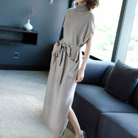 Autumn Spring Woman Casual Short Sleeve Turtleneck Loose Fashion Dresses Knitted Dress One Piece Elegant Female Sweater