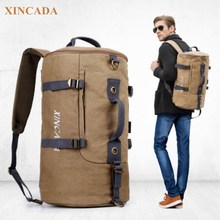 XINCADA Stor Kapacitet Canvas Bagpack Män Reser Stor Kapacitet Skulderväska Pack Europe Design Ryggsäck Laptop väskor