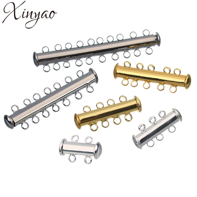 XINYAO 10pcs Copper Strong Magnetic Slide Clasps Fit Necklaces Bracelets Gold Color End Clasps Connector For Diy Jewelry Making брелок silver angel 120pcs diy 14x22mm a428 fit slide bracelets necklaces jewelry findings