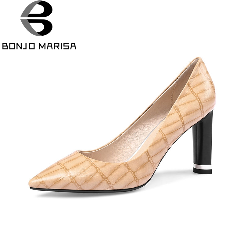 BONJOMARISA 2018 Spring Autumn New Brand Big Size 33-43 Women Pumps Genuine Leather Fretwork High Heels Ol Shoes Woman 2016 new pumps ol style thick high heels women shoes with bowtie pu leather shoes woman for spring 3 colors size 35 39 xwd717