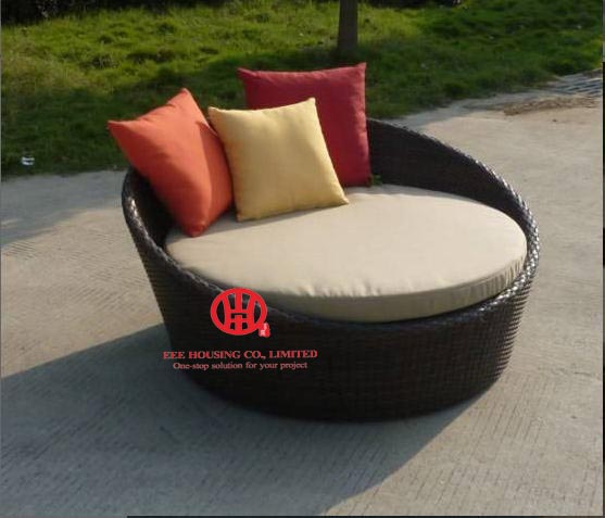Outdoor Rattan Furniture Sunny Beach Lounge Sofa Seater Round  Lounger Bed,Round Sofa Bed Outdoor Wicker Garden Furniture