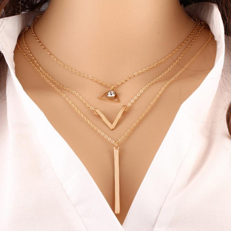 2018 Mode Multi-layered Halskette Metall Anhänger Kristall Pailletten Halskette Frauen Weiblichkeit Trend Von Schlüsselbein Kette Schmuck