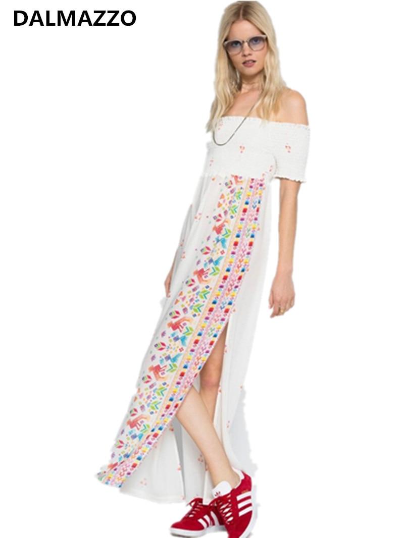 DALMAZZO Ethnic Embroidery Mexican Slash Neck Strapless Long Dress Women Luxury Brand Cotton White Dress Boho People Clothes