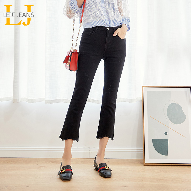 LEIJIJEANS 2019 plus size For Mom   jeans   Mid Waist Ankle length Cotton Flare stretchy Pant Black bootcut women capris   jeans   6254