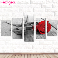 Fezrgea 5D DIY New Arrival Full Drill Round 5pc Diamond Painting Red Rose Multi-picture Combination Embroidery Mosaic Home Decor