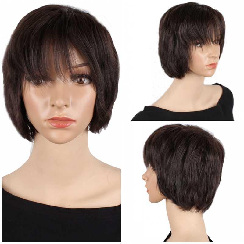 Pelucas cortas rizadas marrones de pelo sintético resistente al calor de 10 pulgadas pelucas de Cosplay