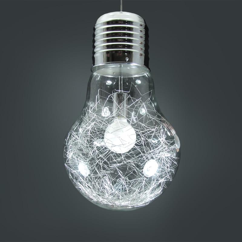 Design créatif grande ampoule E27 lampes suspendues métal verre étude café bar argent/or rétro 1/3 têtes lampes suspendues ZA