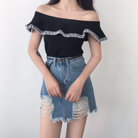Slash Neck Off Shoulder Chic Summer Top Striped Ruffles Women Sexy Black T Shirt Ladies Slim