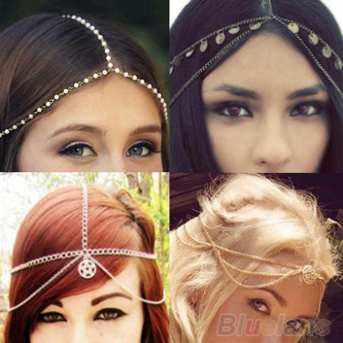 2016 Design Womens Fashion Metal Head Chain Headband Head Piece Hair Band Hairband ASPE