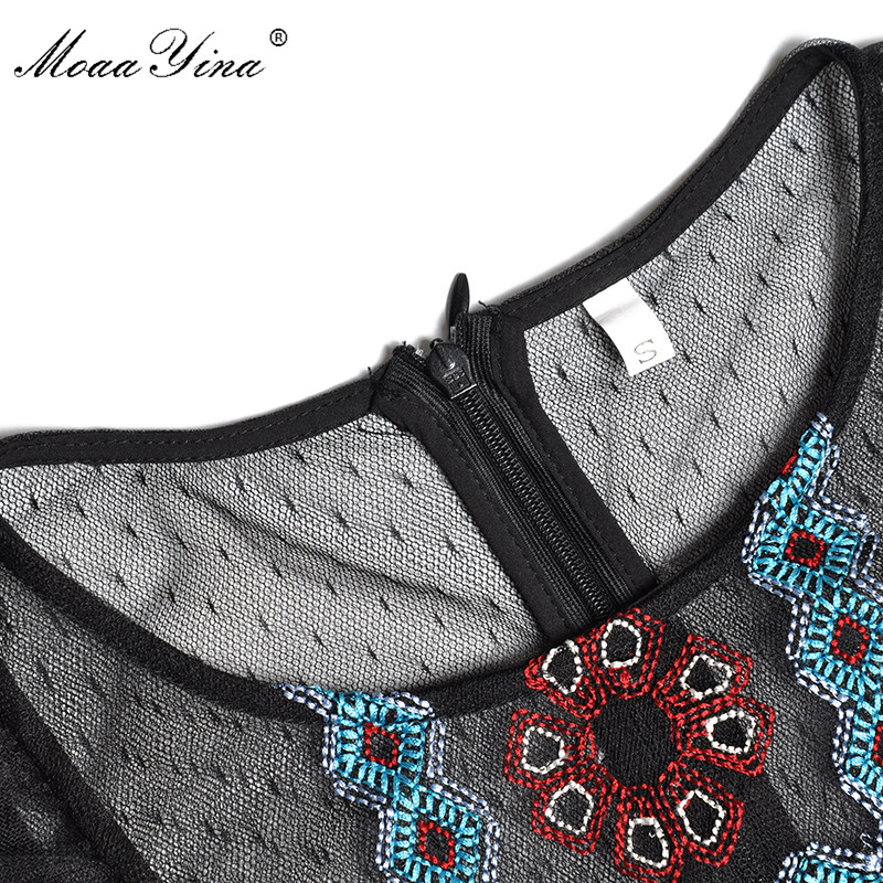 Vintage Manches Designer Robe Noir Fashion Élégante Printemps Des À Moaayina Ruches Piste Été Longues Maille Femmes Broderie RqEvwvd