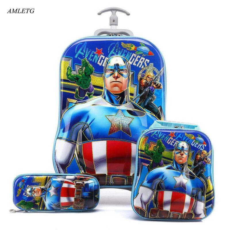 Marka 3d chłopiec Anime wózek na autobus dziecko drabiny bagażu Rolling bagażu podróży dziewczyna Cartoon Pull Box dla dzieci piórnik sportowa w Zestawy bagażowe od Bagaże i torby na  Grupa 1