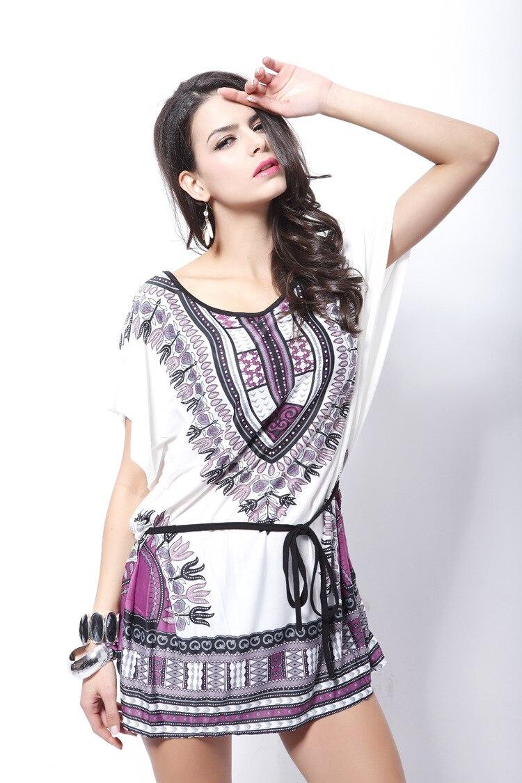 UTMEON 新ファッションルースプルオーバーシャツカジュアルドレス氷のシルク半袖ヴィンテージボヘミアドレス