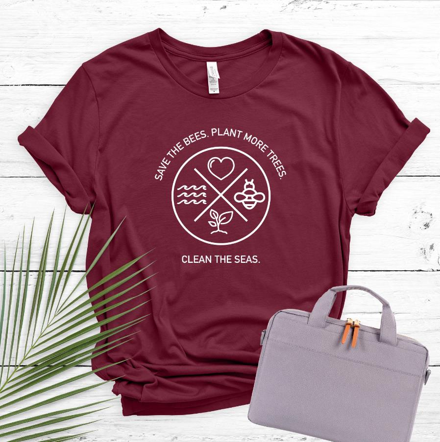 Save The Bees Plant More Trees Women Tshirt Casual Cotton Hipster Funny T-shirt Gift For Lady Yong Girl Top Tee Drop Ship ZY-279