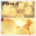 2.6 m 20 Bolas de Algodón Vacaciones Luces Blanco Caliente LED LUCES de Hadas De Cuerda Luces De Navidad Del Banquete de Boda Decoración Romántica lámparas