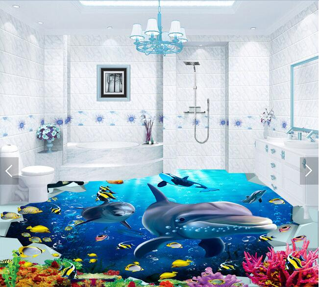 3d  flooring custom waterproof wallpaper 3 d Marine fish corals  3d bathroom flooring picture photo wallpaper for walls 3d 3 d flooring custom waterproof 3 d pvc flooring 3 d tree forest leaves 3d bathroom flooring photo wallpaper for walls 3d