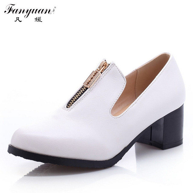 2017 New Fashion Square Pointed Toe And Zip Less Platform Med Heel OxfordS Shoes For Women Casual Slip On Skidproof Shoes