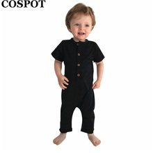 COSPOT Baby Boys Cotton Romper Infant Rolled Sleeve Pajamas Newborn Jumpsuits Kids Summer Plain Color Playsuits 2018 New E33