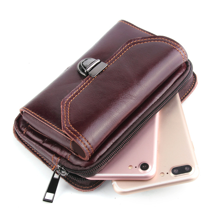 Applicable to Apple XS waist pack crazy horse grain 6 3 inch leather double layer Applicable