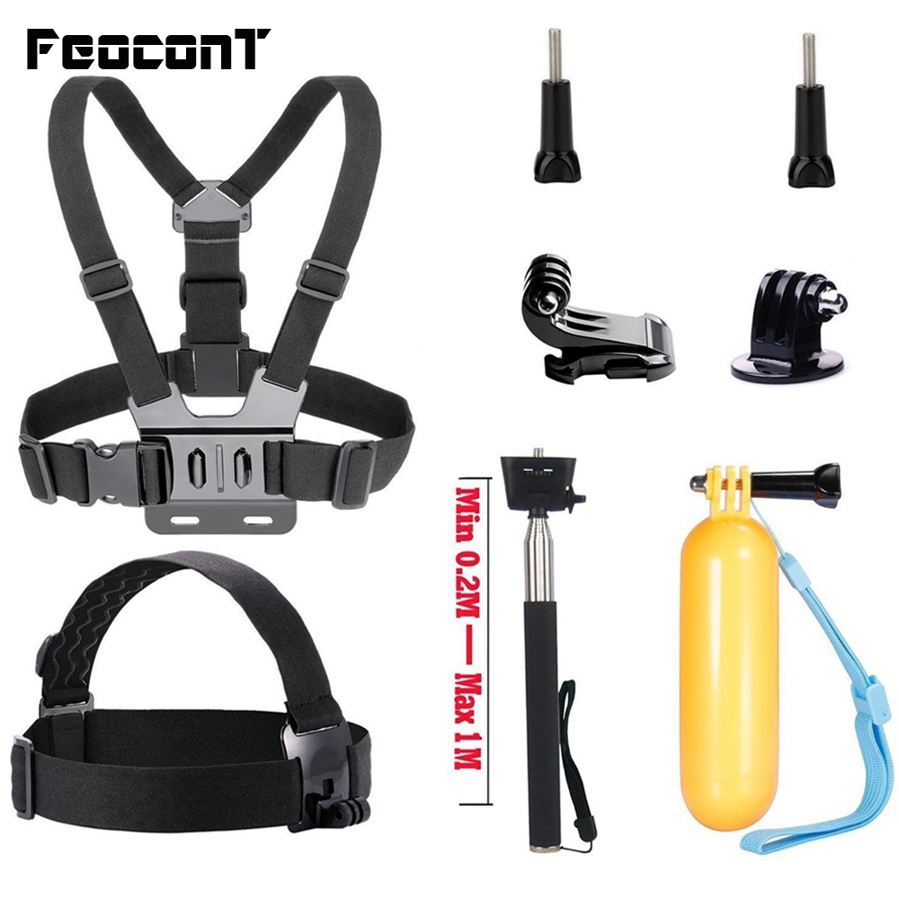 Go pro Accessories Straps Mounts Head Mount Chest Belt Strap Handle Selfie Stick Monopod Floating Hand Grip For Gopro 6 YI 4K ...
