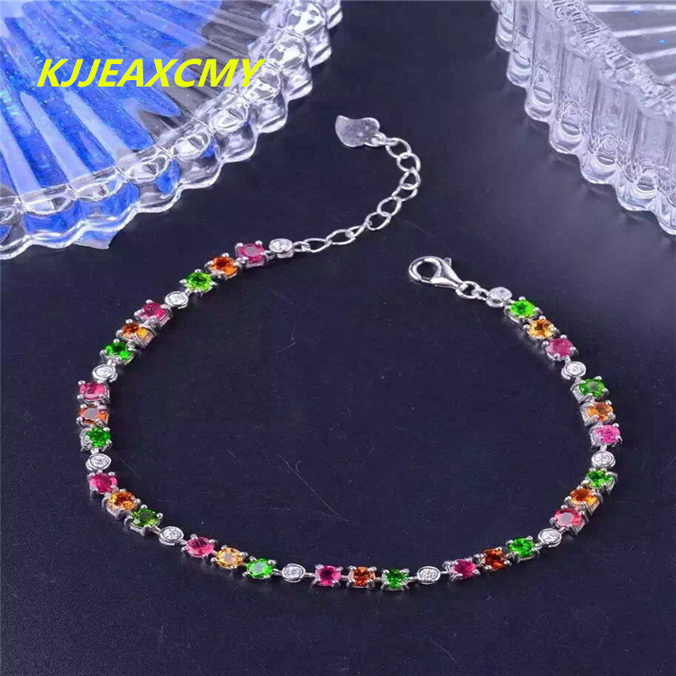 KJJEAXCMY Fine jewelry 925 Sterling Silver tourmaline, female bracelet, inlay jewelry, jewelry, natural