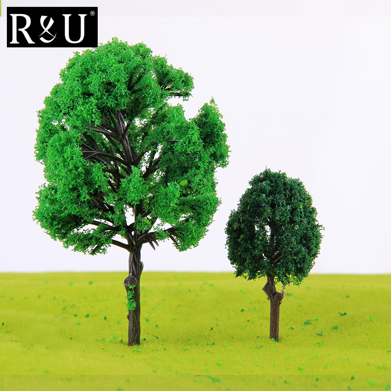 10PCS 12cm Miniatures 1:75 Scale Plastic Trees Model Foliage For Architectural Building Kits House Park Street Landscape Layout