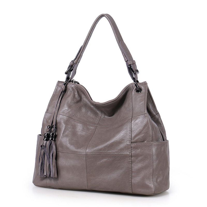 New Natural Cowskin Soft Leather Women s Tote Bag Handbags Fashion Tassels Real Cowhide Shoulder Bag