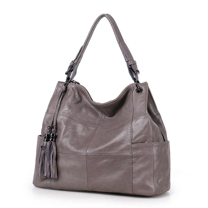 New Natural Cowskin Soft Leather Women's Tote Bag Handbags Fashion Tassels Real Cowhide Shoulder Bag Ladies Messenger Bags
