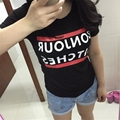 Fashion Women Cotton T Shirt Self Portrait Letter Print Casual Tshirt Bonjour Tee Shirt Femme Bitches Junior T-shirt CC8009