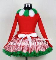 عيد الميلاد أحمر أبيض مقلم مزيج الأخضر pettiskirt مطابقة كيلي الأخضر و الأبيض ريدات الأحمر طويلة الأكمام أعلى MAMB02