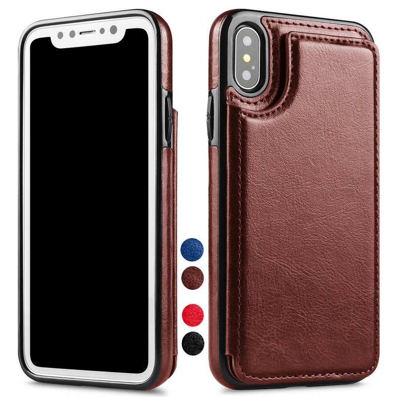 Luxury Retro PU Leather Flip Wallet Phone Cases For iPhone X 8 Plus 6 6S 7 Plus Book Style Soft TPU Cover For iPhone 10 8 7 Plus