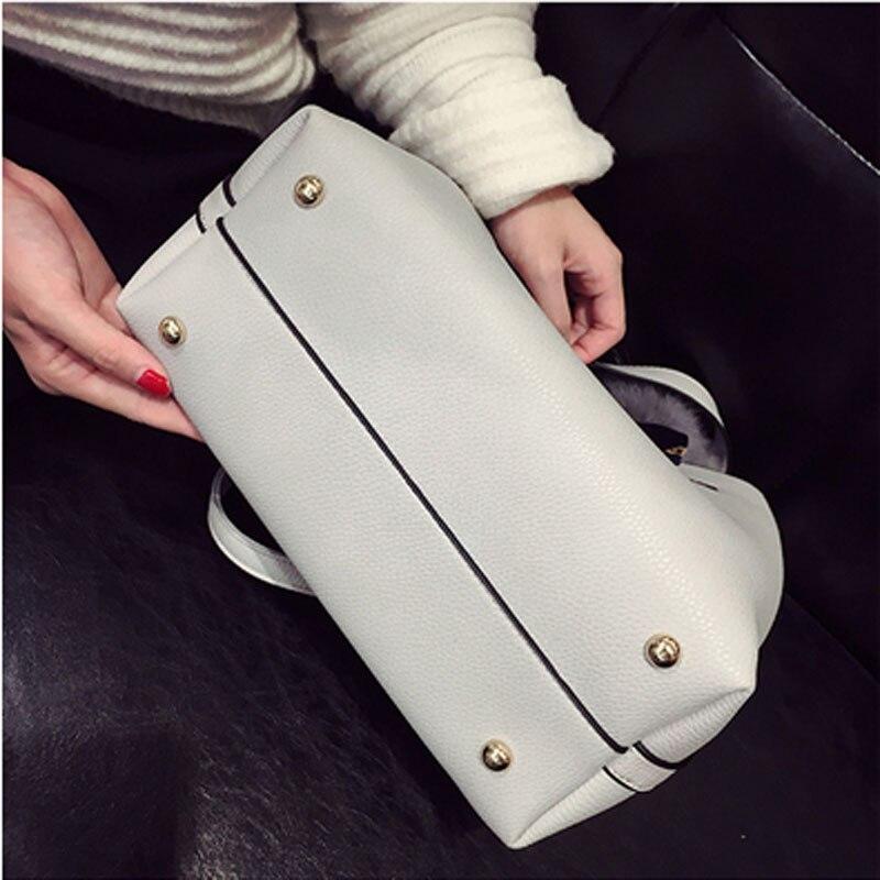 Image 3 - Bolso de mujer de piel sintética suave a la moda, bolso de hombro femenino de dos piezas, bolso de mensajero informal para chicas, bolso de mujer con fecha Borgoña/negroBolsos de hombro   -