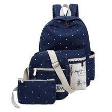 2016 New Fashion Canvas women Backpack Female Spot Printing Students Bag for Teenagers Girls Rucksack 3 pcs School Bag set