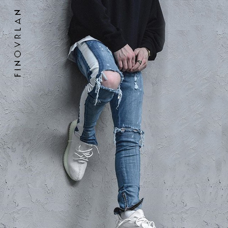 High Street Kanye West Men Jeans Stretch Destroyed Ripped Design Side stripes Ankle Zipper Skinny Jeans Hole Trouser FEAR OF GOD fashion mens hip hop ankle zipper biker denim pants justin bieber jeans fear of god version designer destroyed ripped jeans