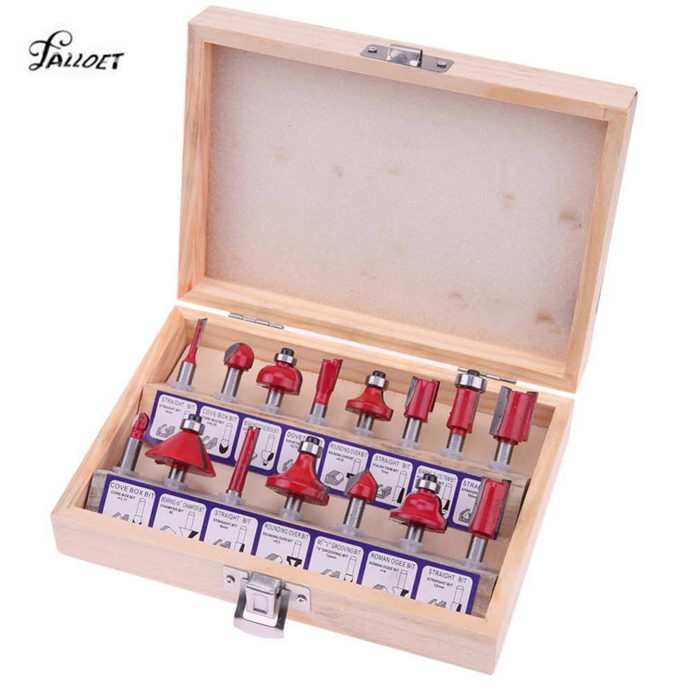 15Pcs/set Milling Cutter Machine Tools Set Router Bit for Wood Cutter Carbide Shank Mill Milling Wood Cutters Woodworking Tool engraving machine tools lace knife woodworking milling cutter tools for wood furniture metal aluminium stainless steel end mill