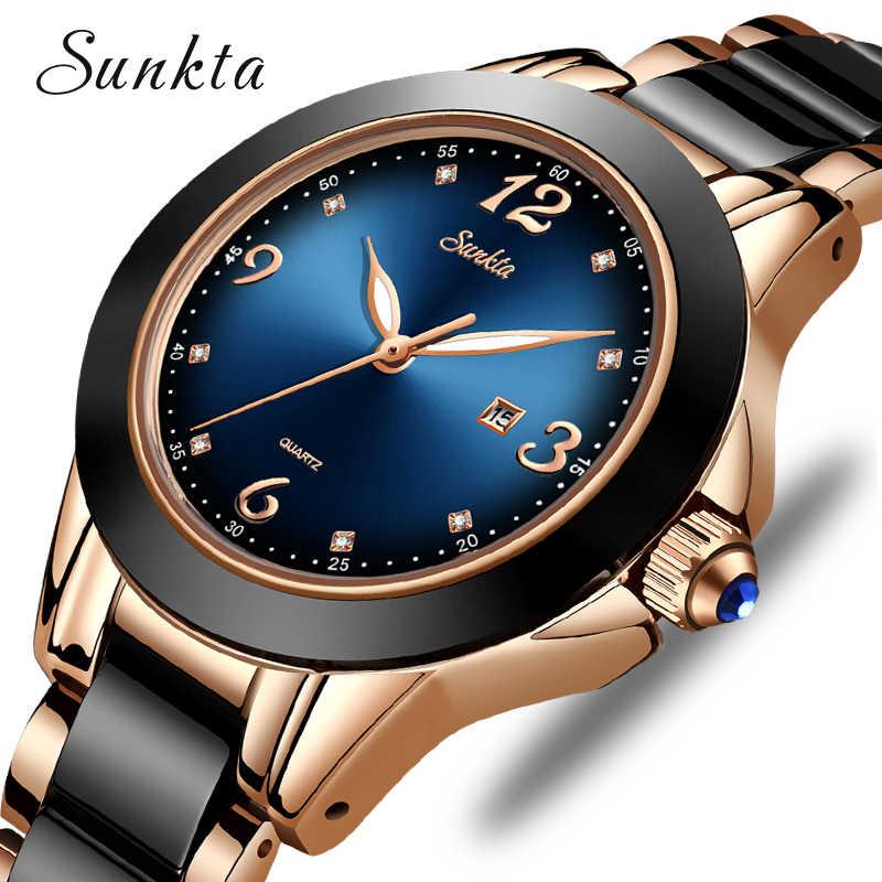 SUNKTA relojes de moda para mujer, reloj de pulsera azul impermeable para mujer, de lujo, de lujo, con diamantes de imitación, deportivo y de cuarzo