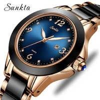 SUNKTA relojes de moda para mujer, reloj de pulsera de cuarzo deportivo de lujo con diamante de imitación de cerámica para mujer, reloj de pulsera impermeable azul para mujer