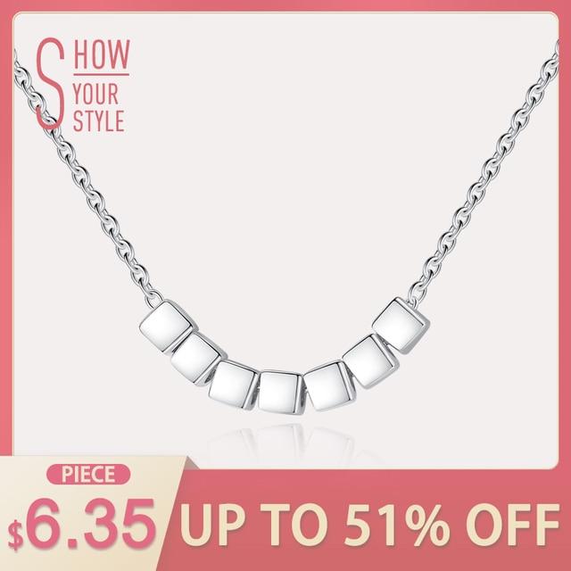 CZCITY Silver Beads Chain Necklace Seven Square 925 Sterling Silver Women Fashio