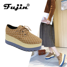 FUJIN Brand Women Flats Casual Shoes Lace Up Female Increase Comfortable for