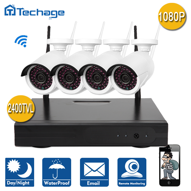 Techage 4CH 1080P Wireless NVR Set P2P Onvif 4pcs WIFI IP Camera Outdoor 2 0MP Home