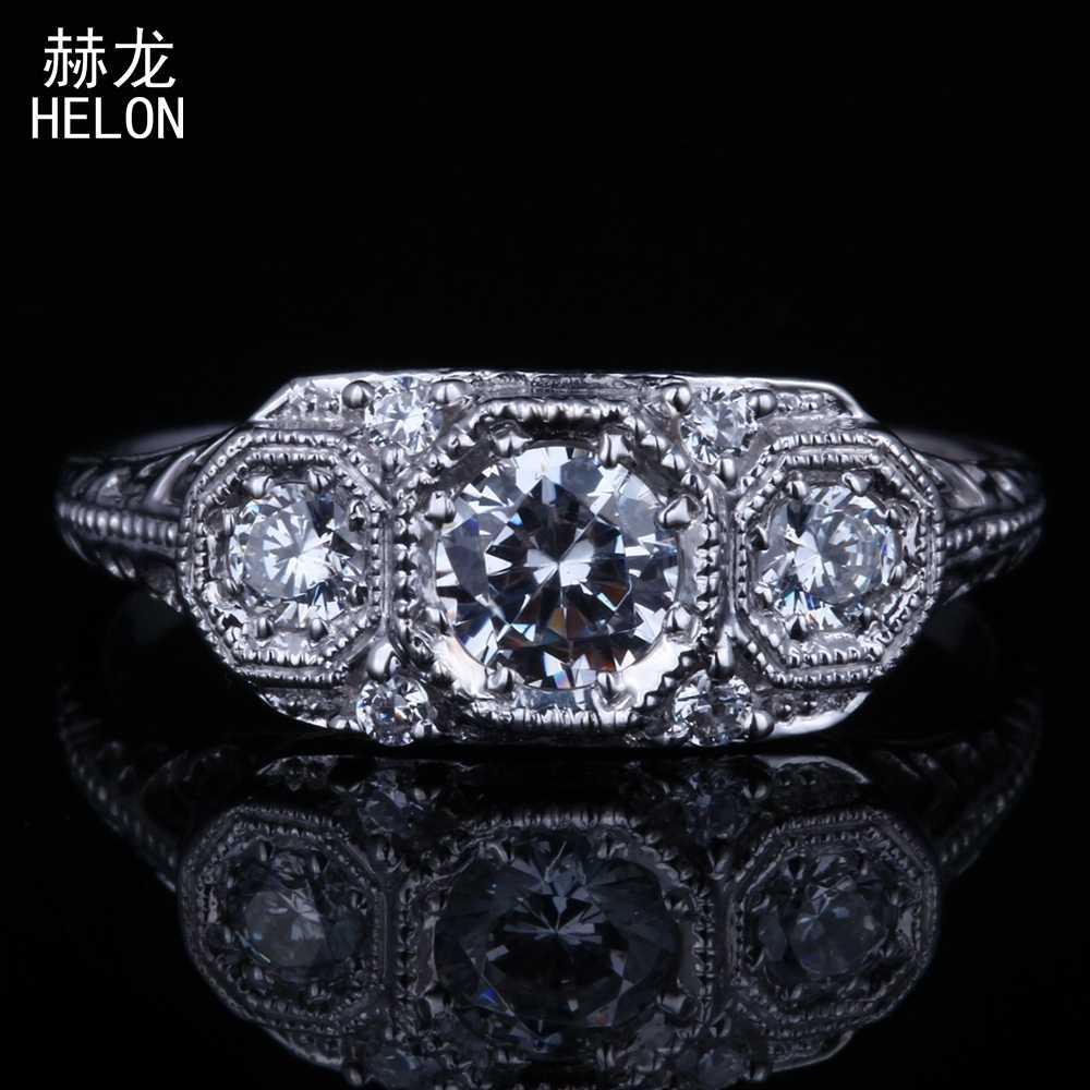 Sterling Silver 925 Vantage Art Deco Three-Stone Round AAA Graded Cubic  Zirconia Engagement Wedding 033c535f6c69